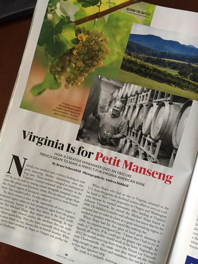 Good to see @MSwineworks Petit Manseng in @SAVEURMAG (tasting this tomorrow at #VaWine Chat https://t.co/SS71CrsSjS http://t.co/WtaQf0serm