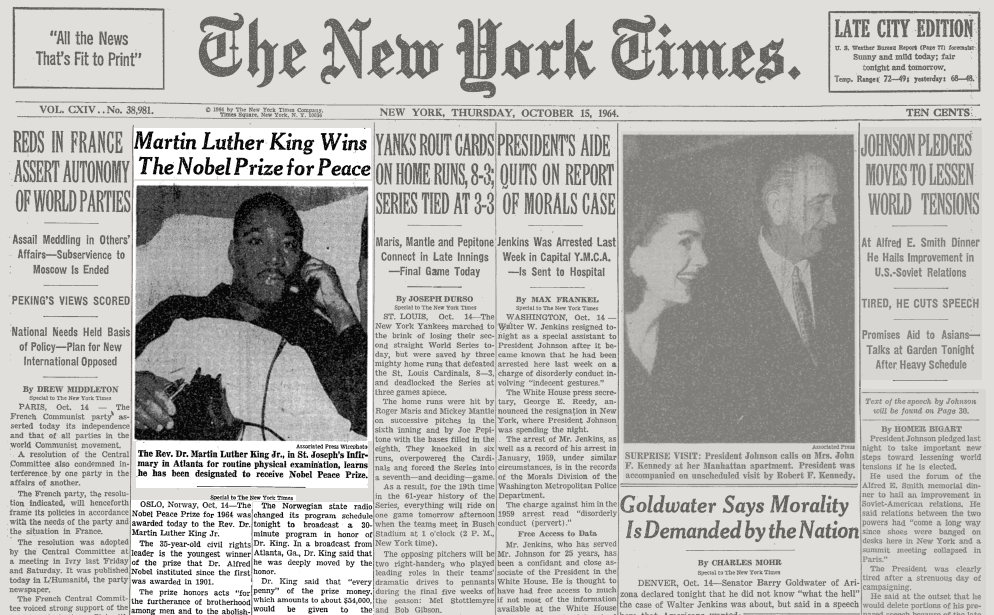 On This Day In 1964 Martin Luther King Jr Wins The Nobel Prize
