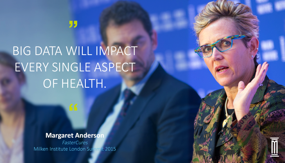 """#BigData will impact every single aspect of health"" says @fastercures executive director, @MargaretAinDC #MIGlobal http://t.co/63kYPGoP98"