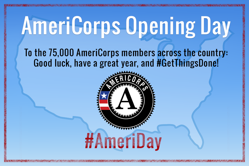 Congrats to the 75,000 @AmeriCorps members serving across the country. Good luck & have a great year! #AmeriDay http://t.co/FtPJZDandX