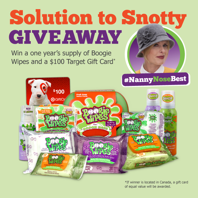 Enter to #win a 1-Year Supply of Boogie Wipes + $100 Gift Card.   #NannyNoseBest Enter: http://t.co/w0fW2ISqn7 http://t.co/SUXOsME485