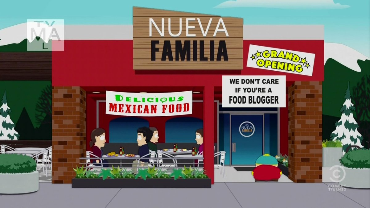 """South Park lol: """"We don't care if you're a food blogger"""" http://t.co/NtXE4ukDpM"""