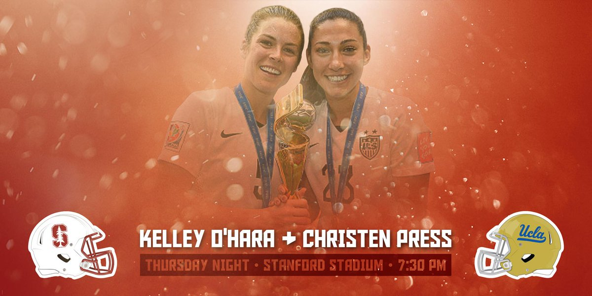 Welcome home @ChristenPress and @kohara19! Both will be honored at tonight's @StanfordFball game. #GoStanford