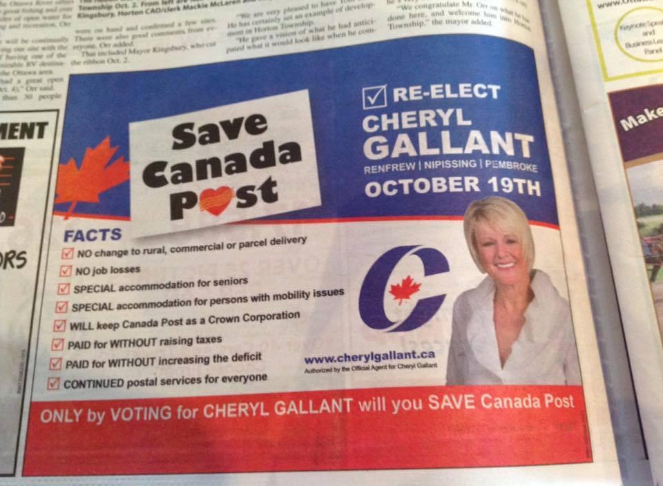 Can anyone in @CPC_HQ explain this Cheryl Gallant ad? She appears to want to SAVE Canada Post… FROM?!? #Elxn42 http://t.co/DoM1bExalk