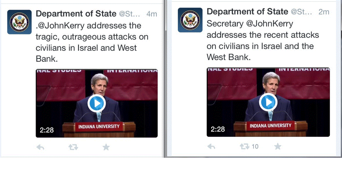 Wonder why the @StateDept deleted the first tweet, and replaced it with the second one? @StateDeptSpox @JohnKerry http://t.co/52MRsxcM6v