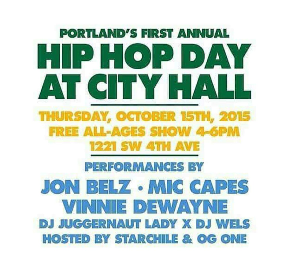 Today is the day, come show your support for HIP HOP! #PDXHipHopDay http://t.co/QvA57TpVRL