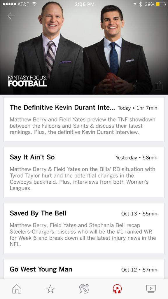 If you like podcasts you can now listen inside the @espn app. @MatthewBerryTMR and @FieldYates never looked better http://t.co/tctRsenj7V