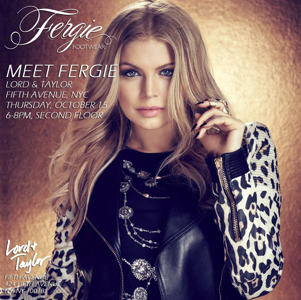 RT @FergieFootwear: 10/15 Meet @Fergie 6-8pm at @LordAndTaylor NYC! W/purchase meet #Fergie & receive signed pic.http://t.co/bvSeWJFv30 htt…