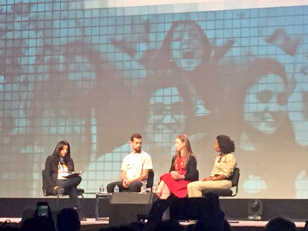 @Jack making @womeng & #womeninproduct proud on stage w/ @ChelseaClinton @GirlsWhoCode & Maxine Williams at #GHC15 http://t.co/yQ1XauQUEy