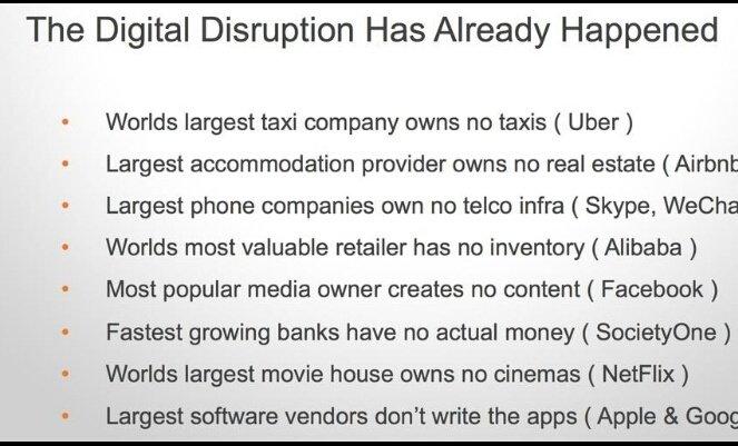 Digital changes everything #transformation #disruptors https://t.co/xZGgOSdQgO