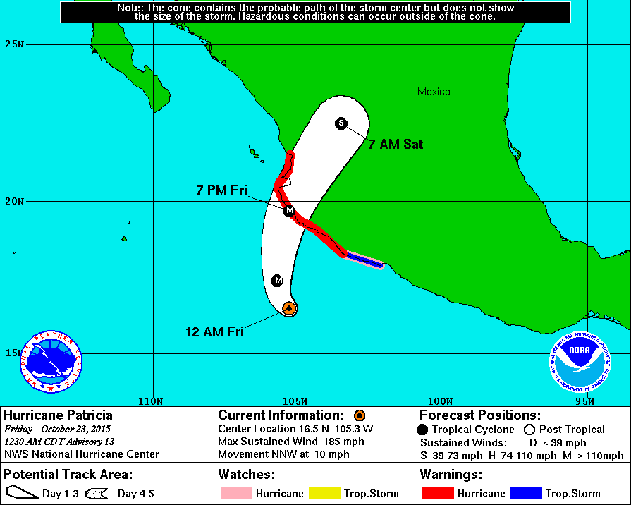 Latest forecast has #Hurricane #Patricia making landfall west of Manzanillo, #Mexico. Winds currently near 200 mph https://t.co/Y28jtFzvSa
