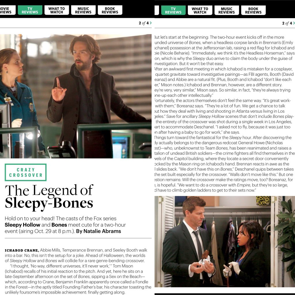 Great EW piece on the #Bones / #SleepyHollow crossover. But beware spoilers abound! https://t.co/gId4DhQYgB