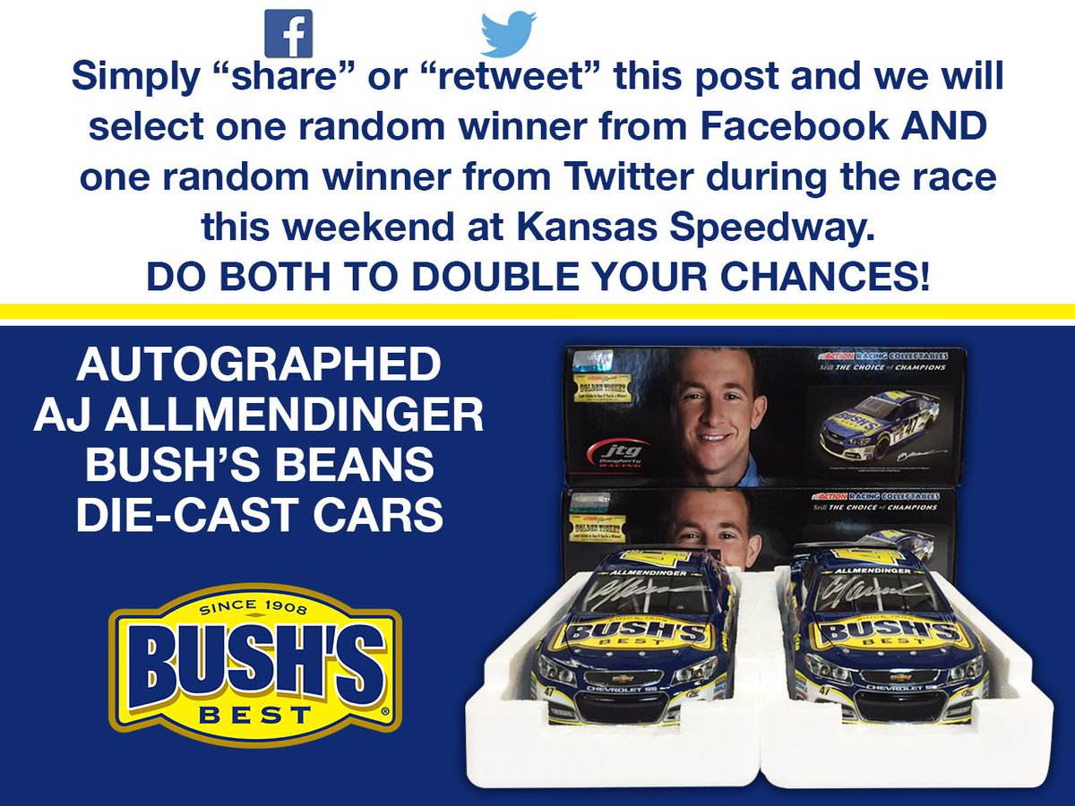 #NASCAR GIVEAWAY! Retweet for a chance 2 WIN an autographed @AJDinger @BushsBeans diecast car! Winner picked Sunday. http://t.co/8ARDKnI7cw
