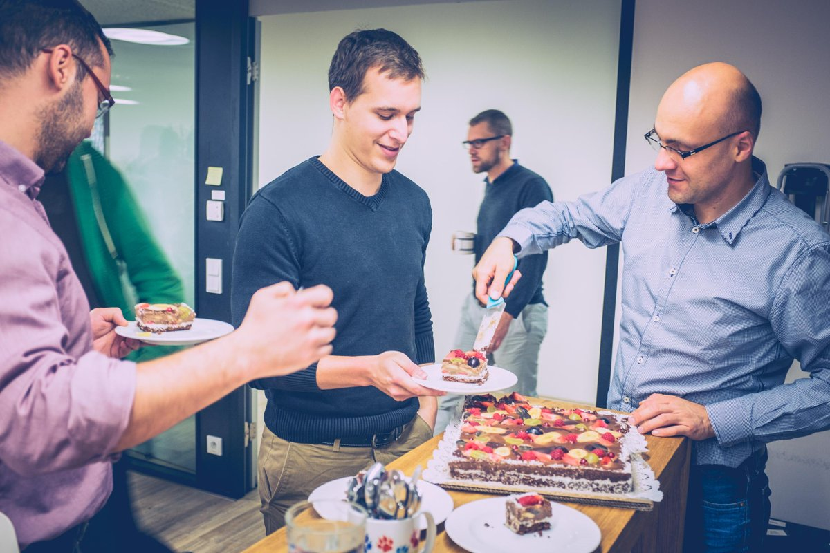 .@Kentico CEO @PetrPalas - runs the company, still serves cake at his own birthday party. Happy Birthday Petr! http://t.co/817IluReGs