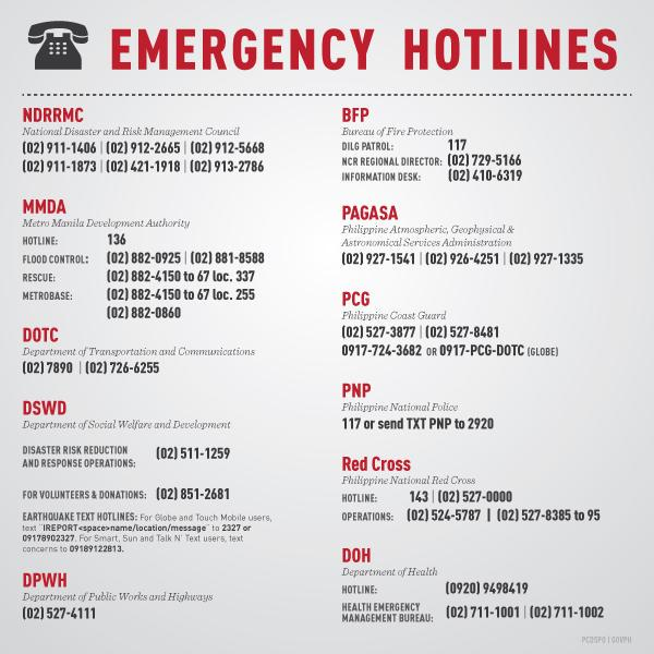 Emergency hotlines of NDRRMC and other agencies #LandoPH Please share or retweet http://t.co/gi9mXGXbdT