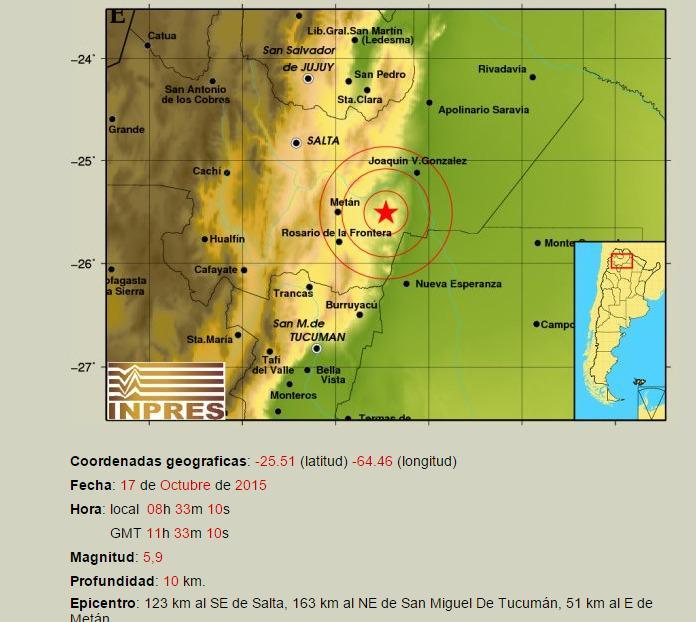 Según INPRES, el epicentro fue en Metán, Salta. Sismo de 5.9° de magnitud http://t.co/tWgrDtLg8e http://t.co/3a2CNznI4d