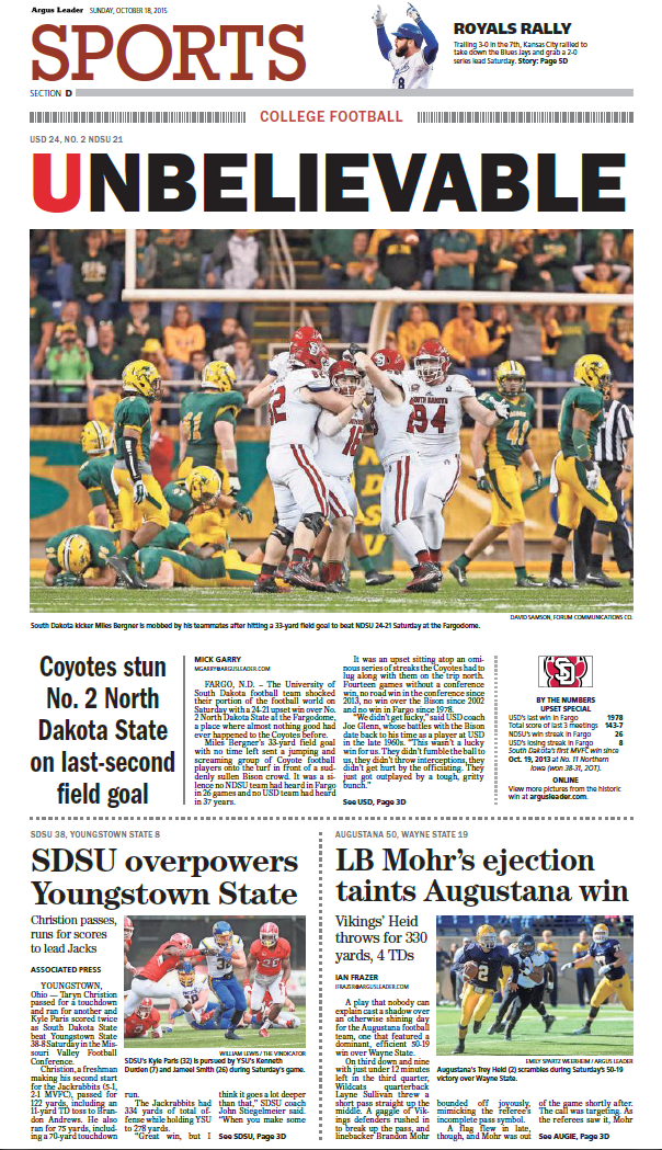 Take a glimpse into the future! Here's the front page of tomorrow's sports section: http://t.co/D1SVBpFACe