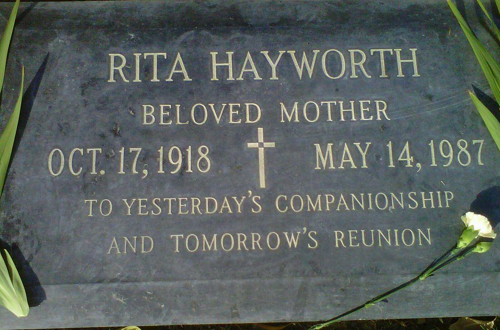 @CHANNINGPOSTERS visited the grave of #RitaHayworth, born Margarita Carmen Cansino on this day in 1918...