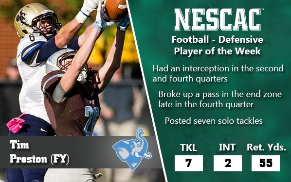 FB: Congratulations to #NESCAC Defensive Player of the Week - @TuftsAthletics Tim Preston http://t.co/UuXgHgevvH http://t.co/uGnq835PxV