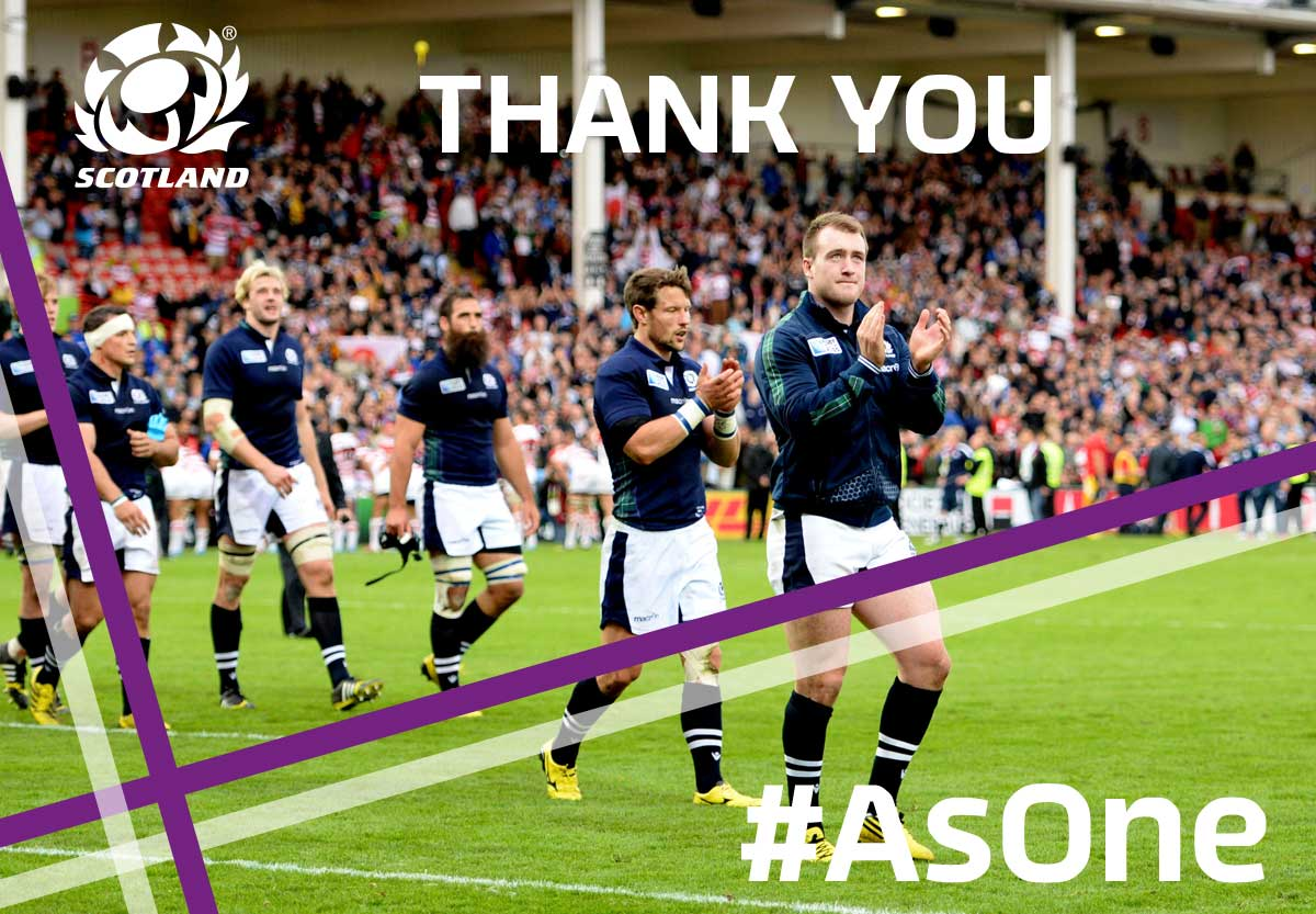 Your support has been absolutely outstanding throughout our RWC journey. From all at Scotland, thank you! #AsOne http://t.co/L2QgJtzkJR