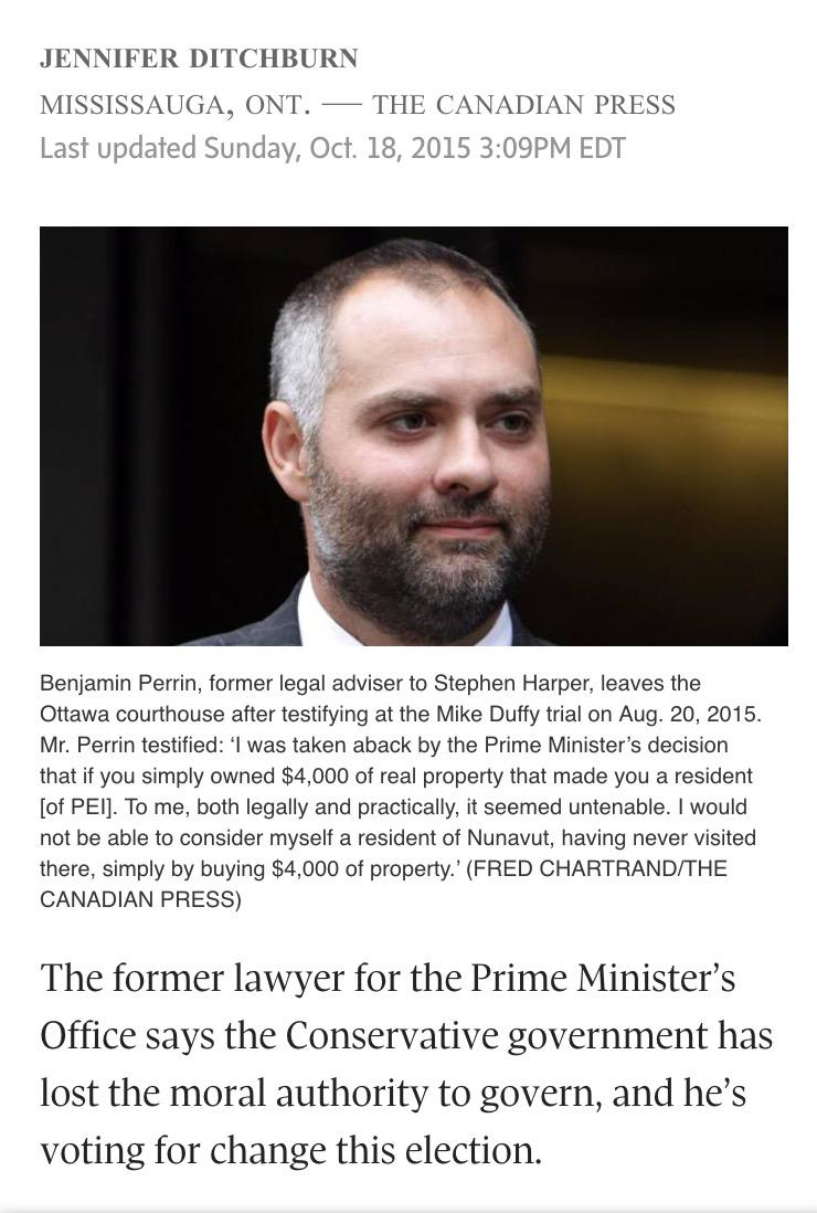 ABC Anything But Conservative. Former PMO Lawyer says Conservatives have lost the moral authority to govern Canada. http://t.co/56DSsuRomy
