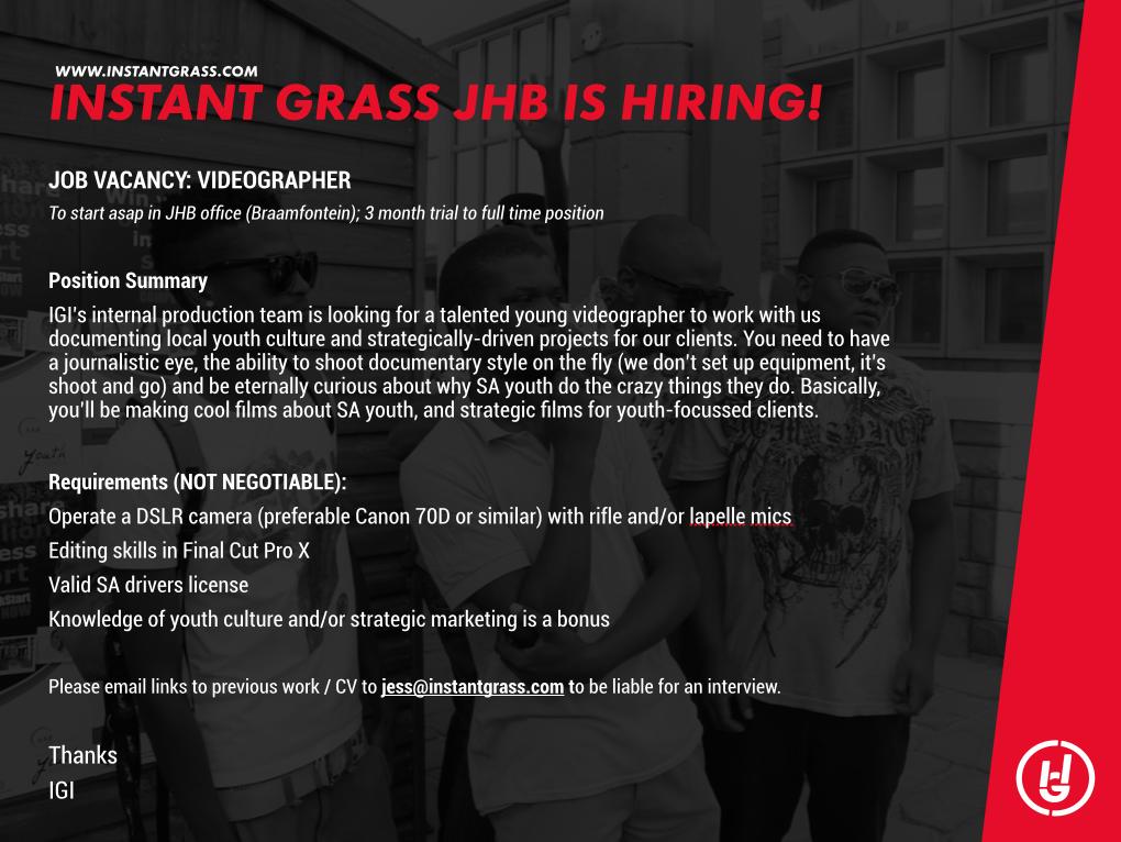 We're hiring! #Videographer #JobSeekersSA http://t.co/SfYDdz5a6M