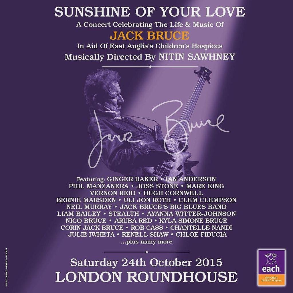 I have the absolute privilege of performing at the colossal Jack Bruce's tribute concert #sunshineofyourlove alongs… http://t.co/df5X8m5i4q