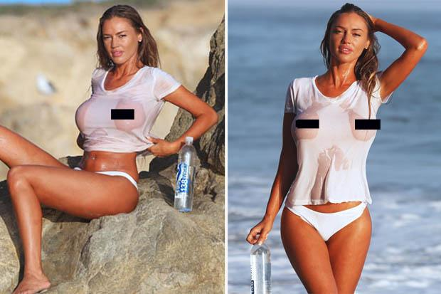 Promotion Or Soft Porn Playmate Goes Basically Topless In Wet T Shirt For Water