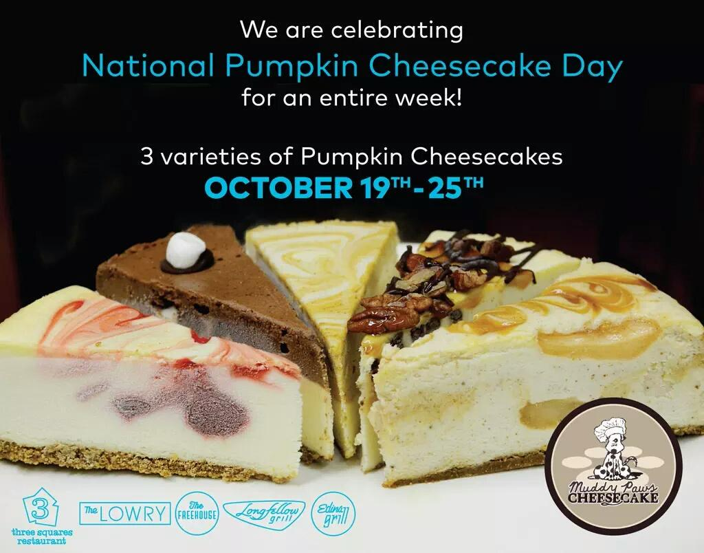 So excited! @edinagrill @TheLowryMN @FreehouseMpls @longfellowgrill and @3squaresMN serving our pumpkin cheesecake! http://t.co/8lcoPQVGay