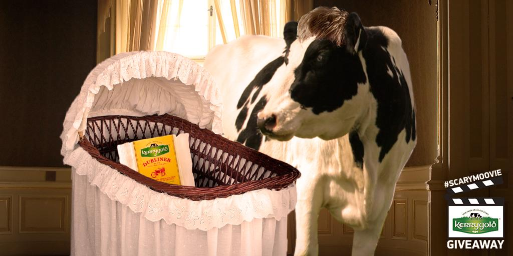 """Our cows remade their favorite #ScaryMoovie, """"Rosemary's Calf."""" Reply w/a film to act out next & you could #WIN. http://t.co/uv1wKi27Dq"""