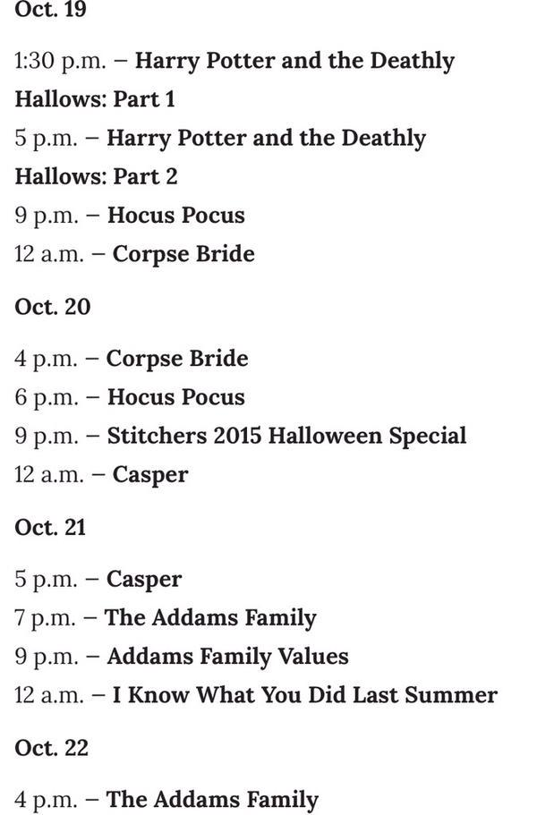 The 13Nights of Halloween schedule for ABC #lifeonfios #Halloween https://t.co/pdgWsP4XGF