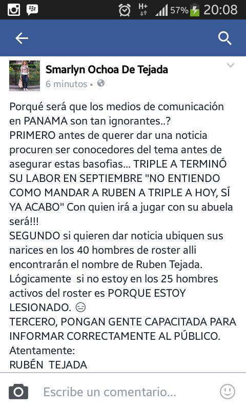 El campo corto panameño Rubén Tejada se molestó por estas publicaciones https://t.co/a7STzH6t98