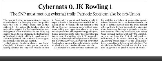 Editorial from The Times today. See their parting comment on 'or oor friend in Bath'