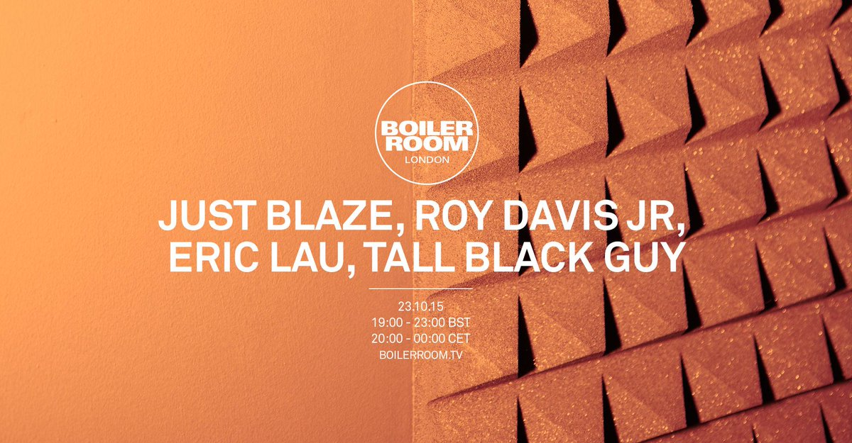 Playing some new music @boilerroomtv this Friday 19:00 BST with @SirTallBlackGuy @RoyDavisJr & @JustBlaze. Tune in! https://t.co/xes8hnLdNO