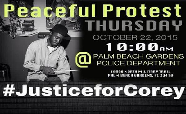A protest is being planned at the @PBGPD police department for Thursday at 10 a.m. #CoreyJones https://t.co/Y7WlnhhJxC