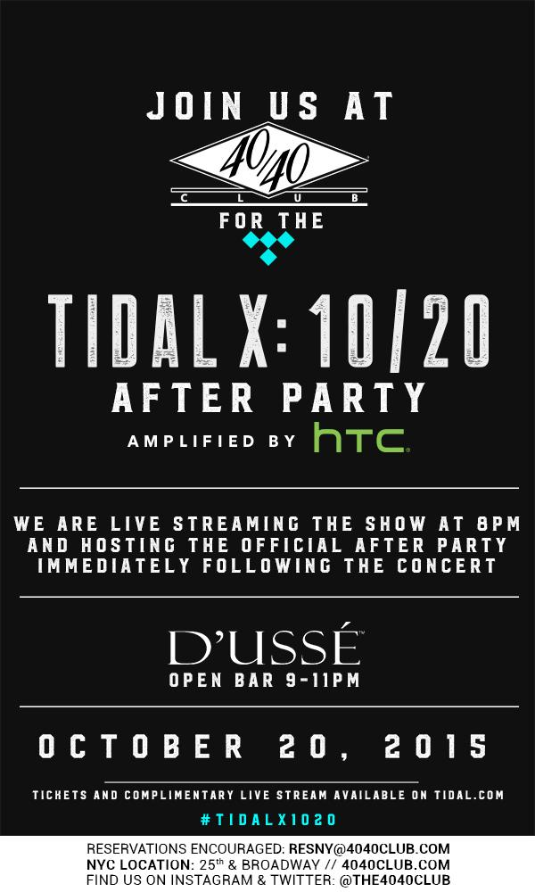 Join us for the @TIDAL Live Stream & official After Party tonight at 8PM + #DUSSE open bar from 9 -11PM. #TIDALX1020 https://t.co/GIJVmxbXZo
