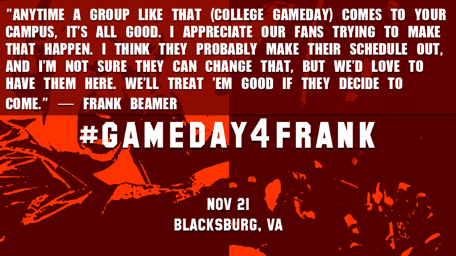 THIS SOUNDS LIKE A CHALLENGE FROM FRANK, #HOKIES. #GAMEDAY4FRANK CC: @CollegeGameDay   https://t.co/ieqXVc7BaE https://t.co/Yfv6RzpS6h