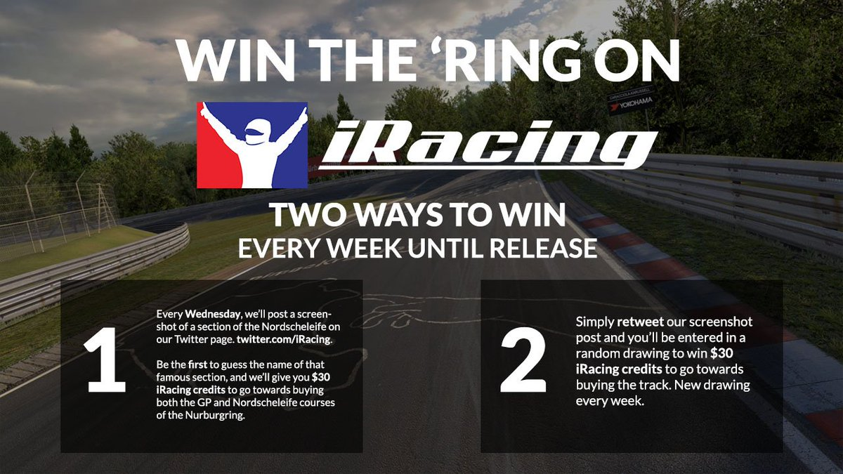 Win the Nurburgring on iRacing! Two ways to win, every week until release in December. Stay tuned, it starts today! https://t.co/eqi6gsb3JL