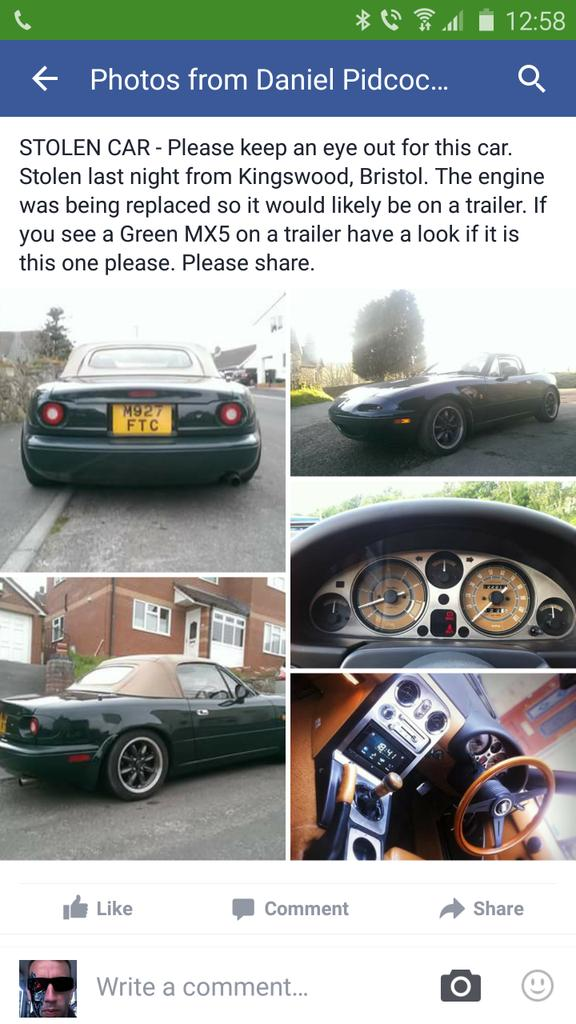 Please help by sharing  @drippabox has had his car stolen in #Bristol   See or hear anything let him know. https://t.co/KnEQvuXKUo