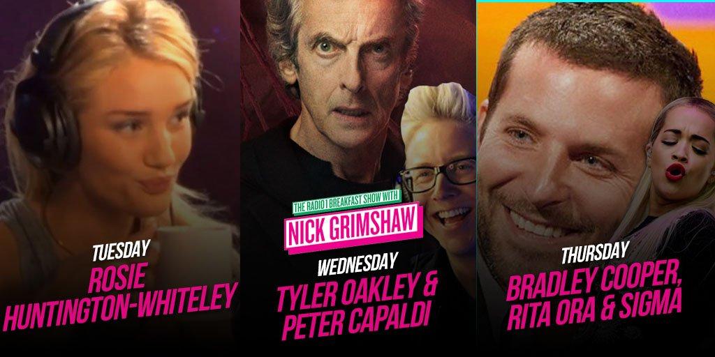 RT @R1Breakfast: All the guests for @grimmers this week! @RosieHW, @tyleroakley, Peter Capaldi, @RitaOra, Bradley Cooper & @sigmahq. https:…
