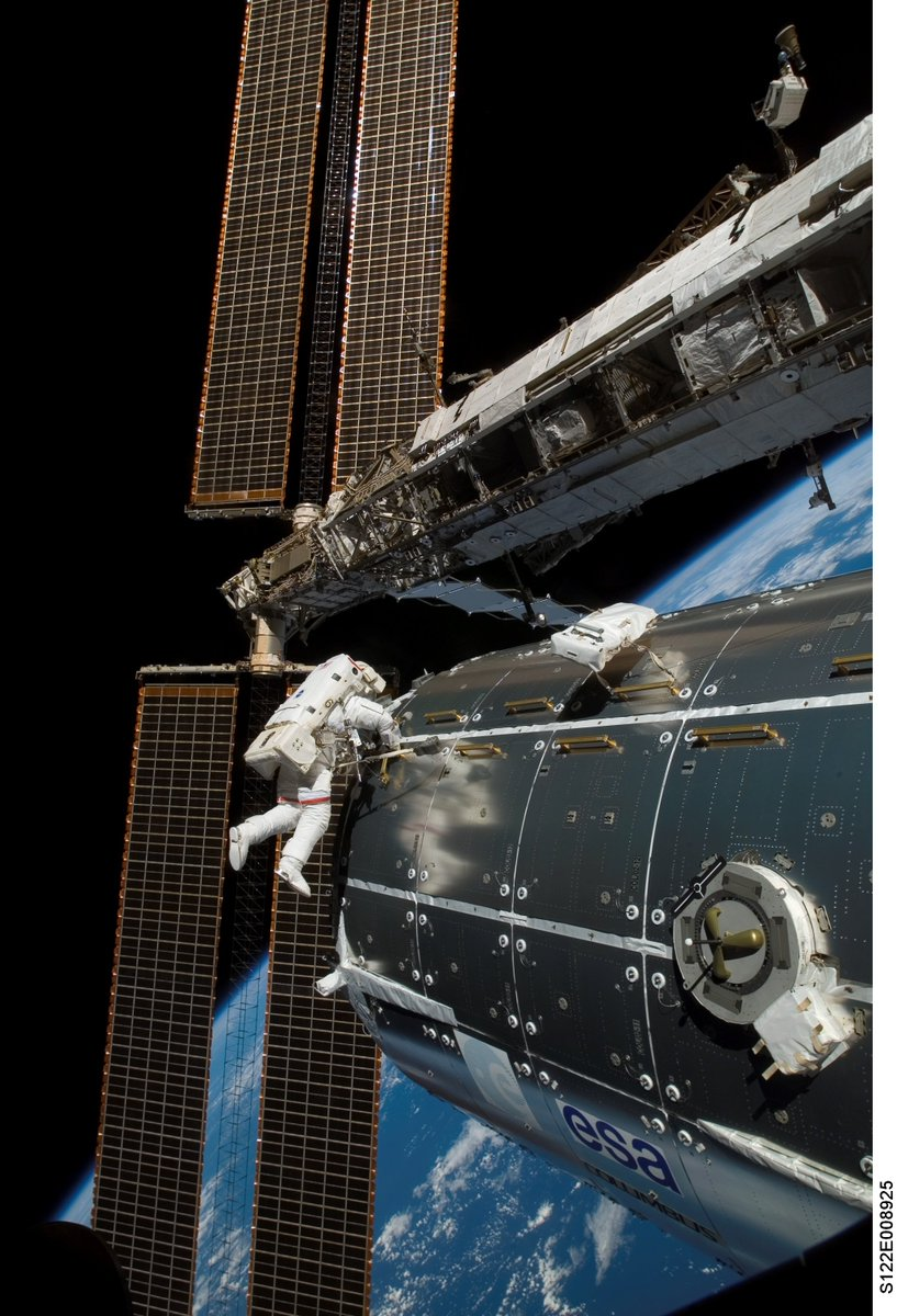 Saluting #15YearsOnStation. My 5th #spacewalk, #STS122 @esa Columbus lab. 180+ spacewalks for space station so far. https://t.co/RV17zSJmsE