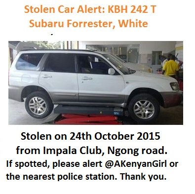 Still on the lookout for my car, stolen on Oct 24/2015 along Ngong Road. Please alert the cops if seen. Thanks. https://t.co/cqij6XBz3J