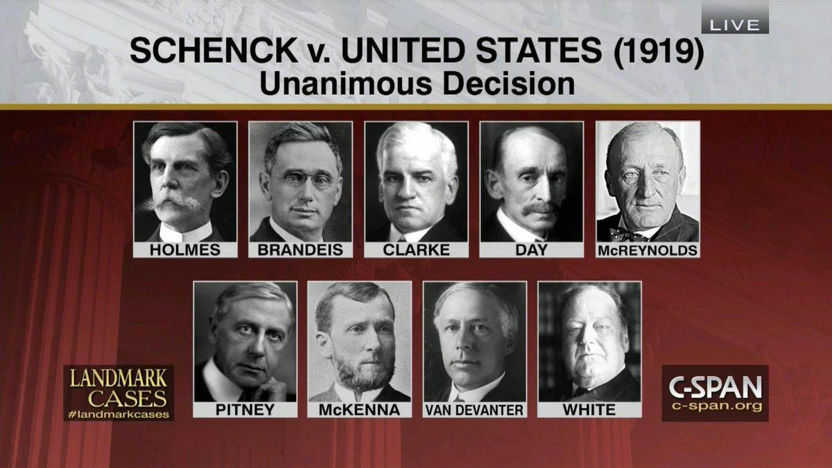 schenck v united states 1919 Transcript of schenck v united states (1919) court case photos group analysis of amendment importance amendment i 9-0 decision in favor of schenck's conviction.