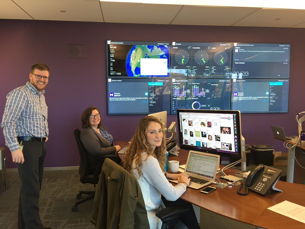 Onsite @Monster in their Social Media Command Center. Engaging and supporting people re jobs, work, careers. https://t.co/tLNs6SRreK