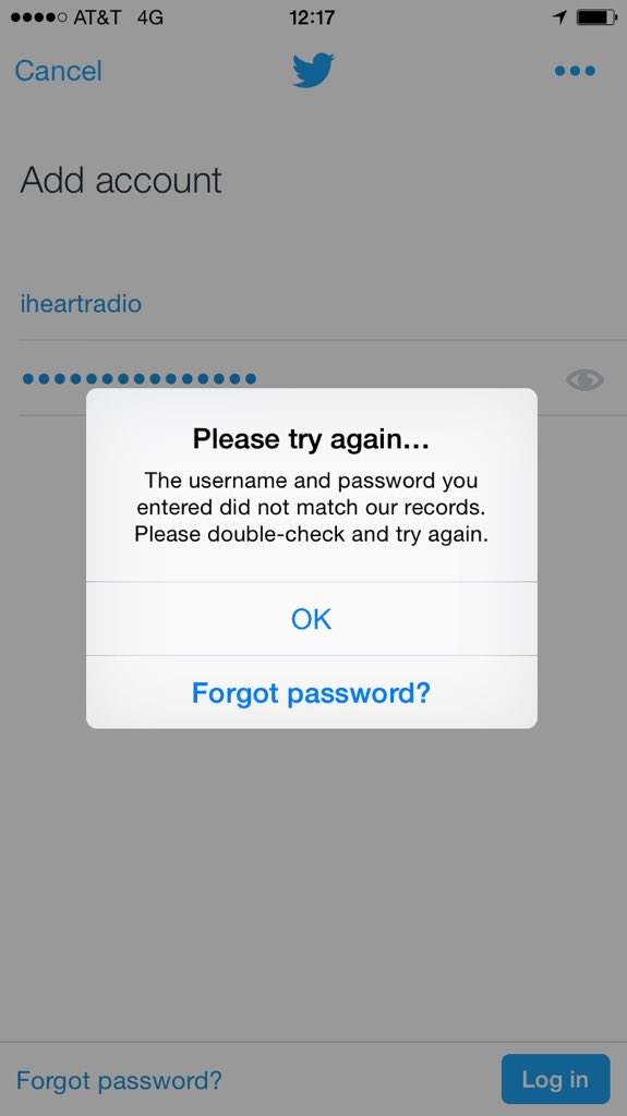 @iHeartRadio the 2 passwords I've been given won't let me log in https://t.co/4GcAYRocI1