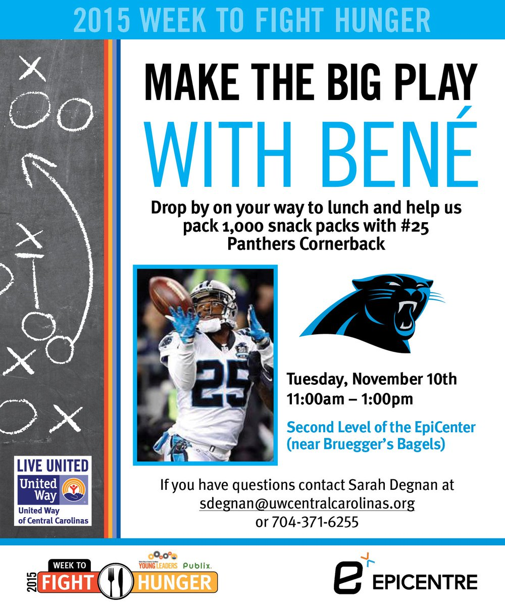 Help @myUWCC and #CarolinaPanther, Bene Benwikere, pack 1,000 #snackpacks, Nov. 10th!! #community #epicentre https://t.co/Biu1w8mt7i