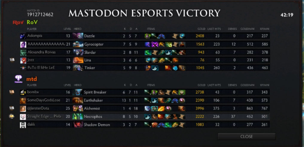 Game 1 to MTD on the back of the Hungshaker. Game 2 coming up next.  t.co/LQkDeif20H