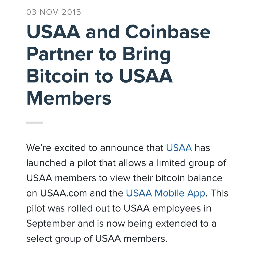 USAA adds Coinbase BTC account integration https://t.co/IlGohxEHFI https://t.co/uN7uDCtNy1