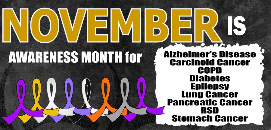 Nov is Awareness Month for Alzheimers, Lung, Pancreatic, Stomach, and Carcinoid Cancer, COPD, Diabetes, & Epilepsy. https://t.co/bu28CoLO6w