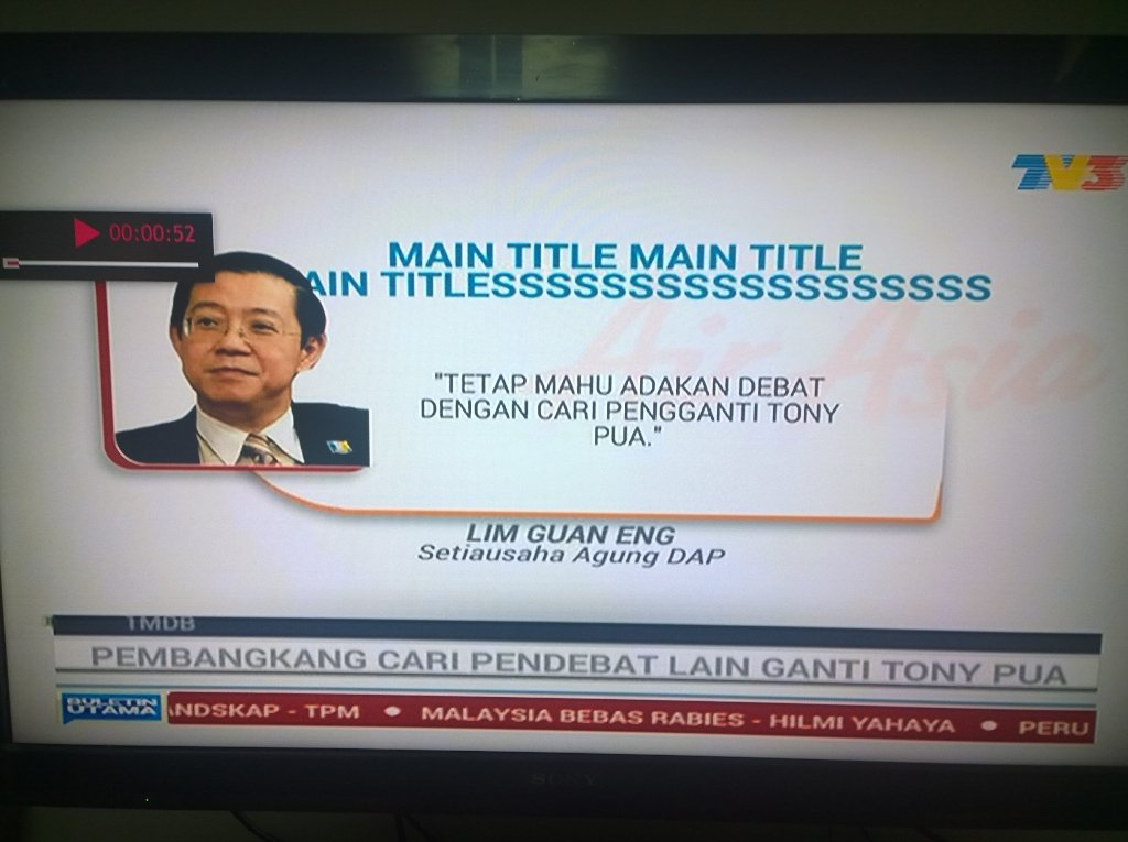 Pemalas gila Buletin Utama TV3! Main title menda tu? https://t.co/7sMdY4tRlG